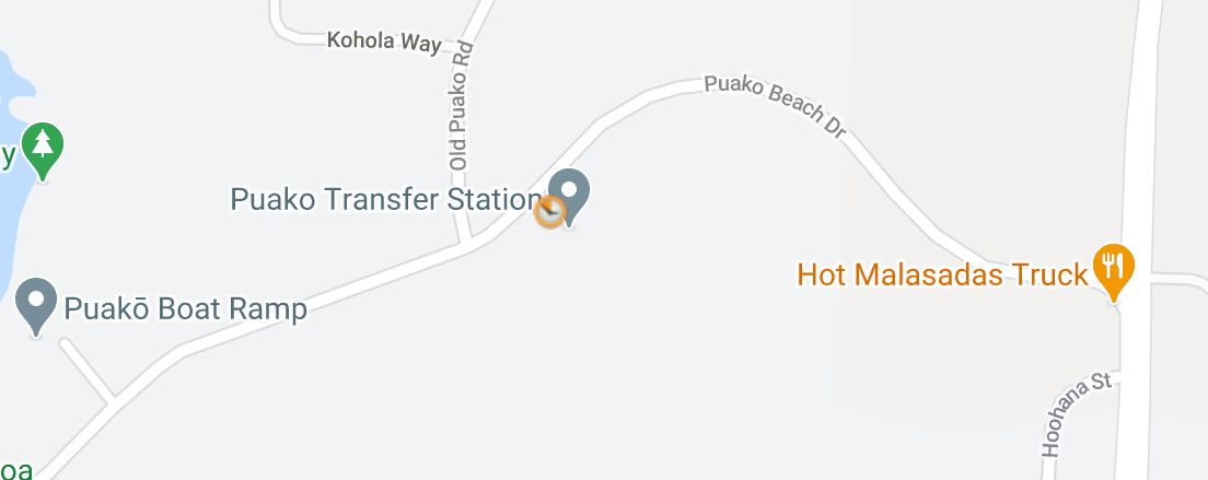 Map showing location of Puako Transfer Center